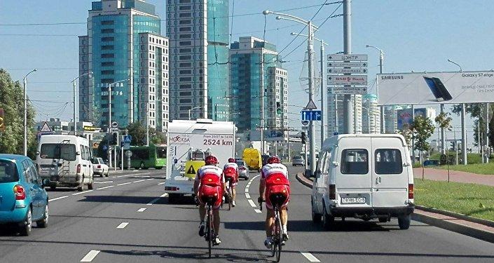I tre ciclisti a Minsk