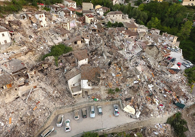 A drone photo shows the damages following an earthquake in Pescara del Tronto, central Italy, August 25, 2016