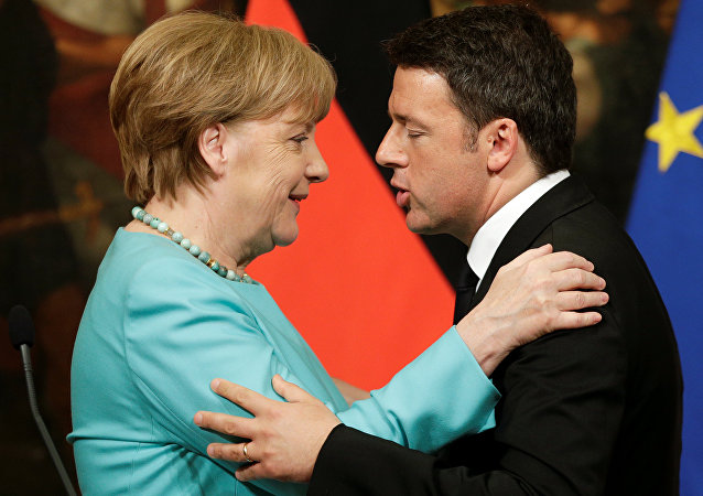 Matteo Renzi e Angela Merkel