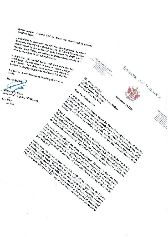 La lettera del senatore Richard Black
