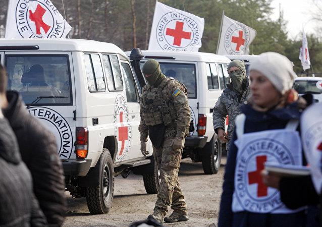 Ispettori della Croce Rossa nella regione di Lugansk, Ucraina