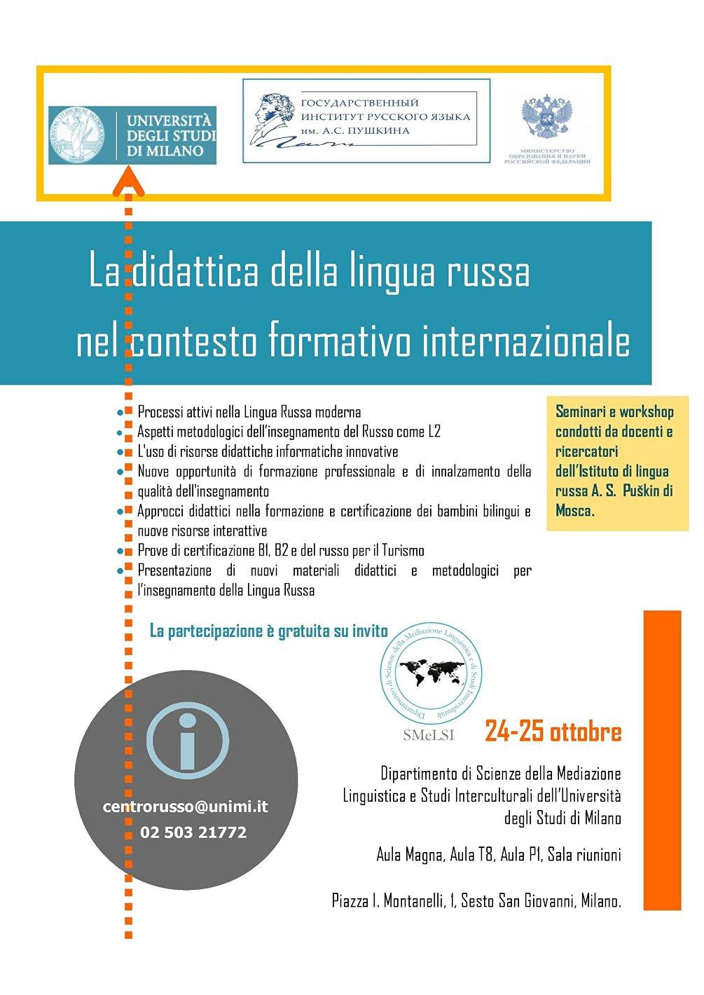 Programma del conbegno: la didattica della lingua russa nel contesto formativo internazionale