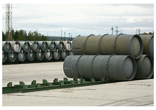Barrels for depleted uranium hexafluoride, a compound used in the uranium enrichment process