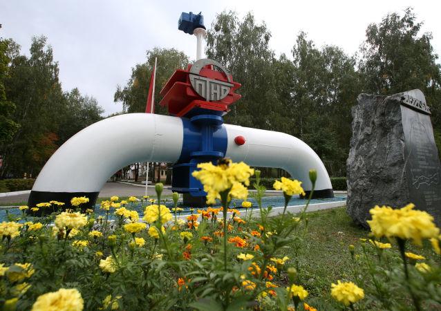 Simbolo dell'oleodotto Amicizia nei pressi della città di Mazyr in Bielorussia