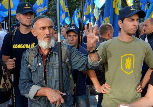 Militanti di Svoboda a Kiev (foto d'archivio)