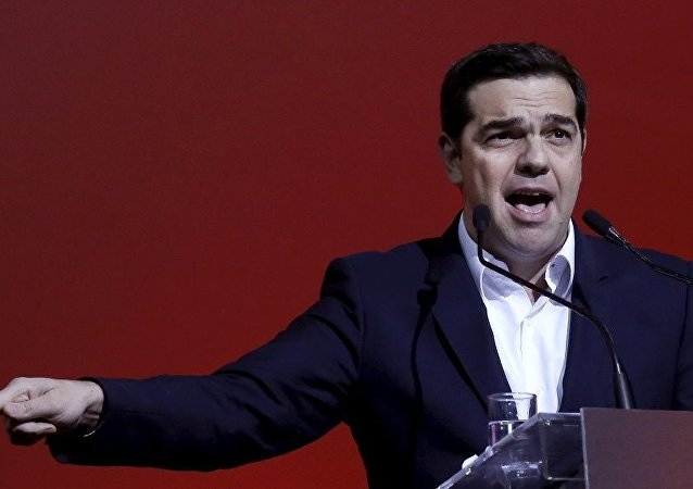 Greek Prime Minister Alexis Tsipras delivers a speech marking one year since he was first elected to power in Athens, Greece, January 24, 2016.