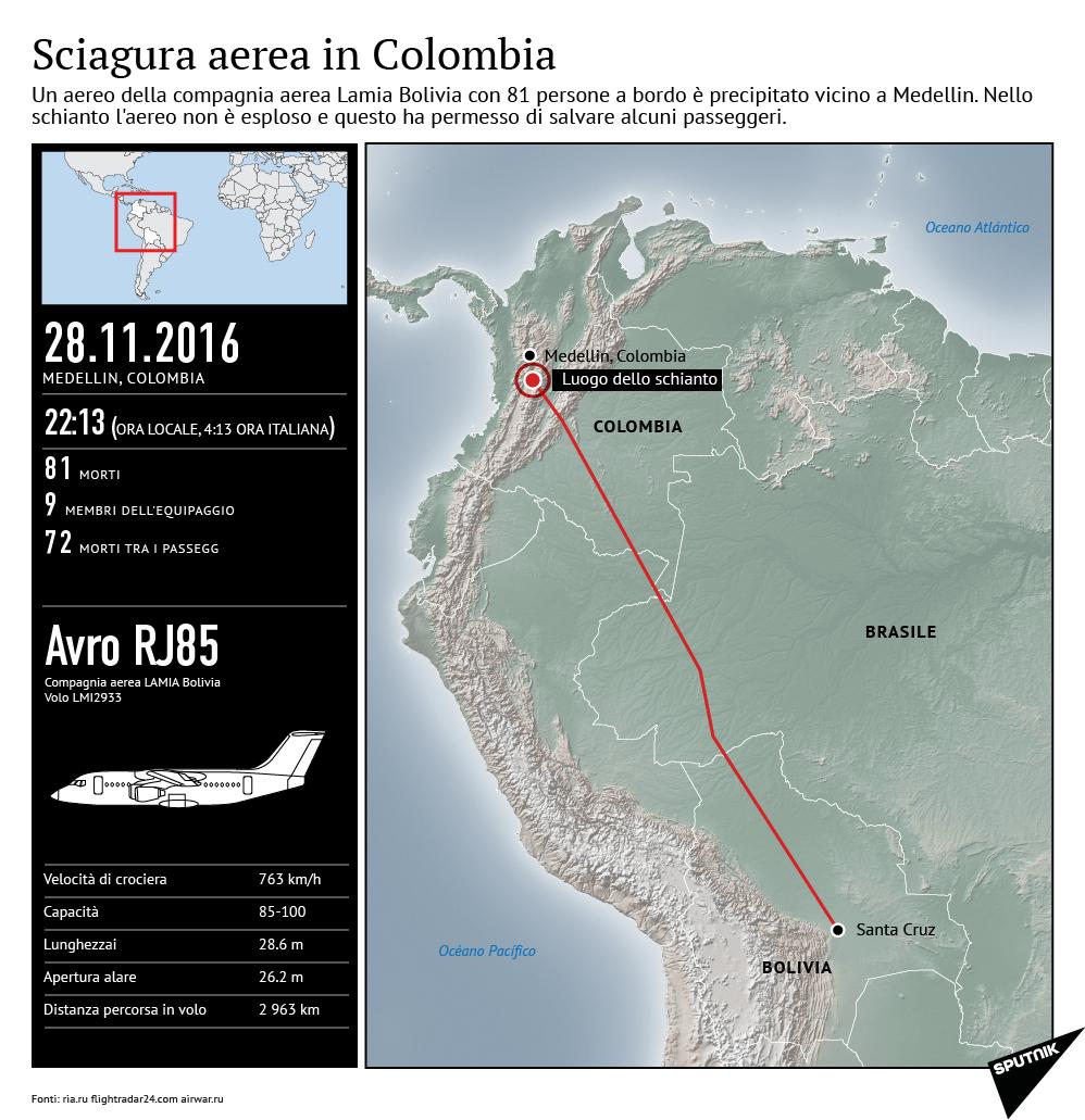 Schianto a Medellin, precipita l'aereo della squadra brasiliana Chapecoense
