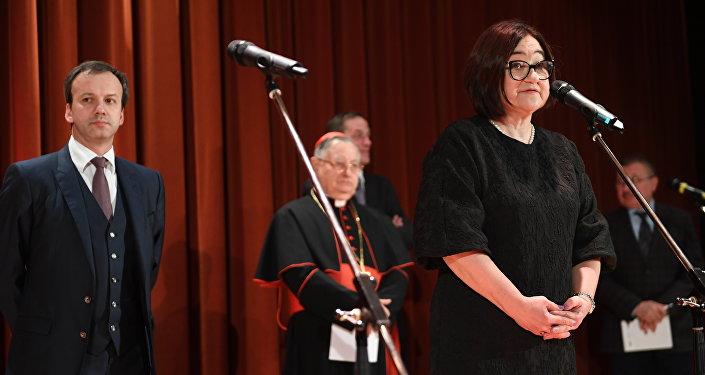 La direttrice della Galleria Tretyakov Zelfira Tregulova durante l'inagurazione della mostra Roma Aeterna