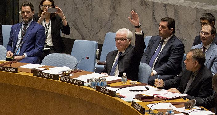 Vitaly Churkin assiste a una riunione del Consiglio di sicurezza ONU
