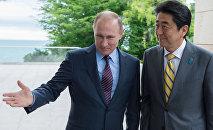 Vladimir Putin e Shinzo Abe (foto d'archivio)