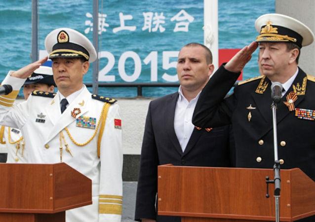 Alti ufficiali della marina russa e cinese danno inizio a esercitazioni Interazione navale - 2015