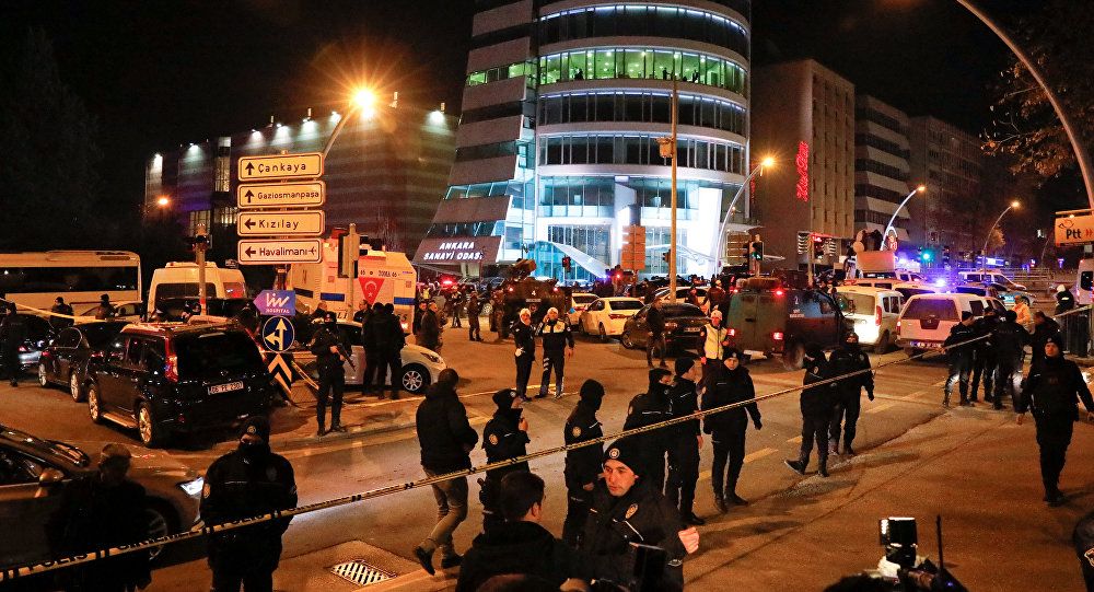 Turkish police secure the area near an art gallery where the Russian Ambassador to Turkey Andrei Karlov was shot in Ankara, Turkey, December 19, 2016