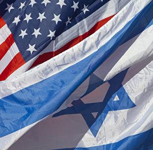 Bandiere americana e israeliana.