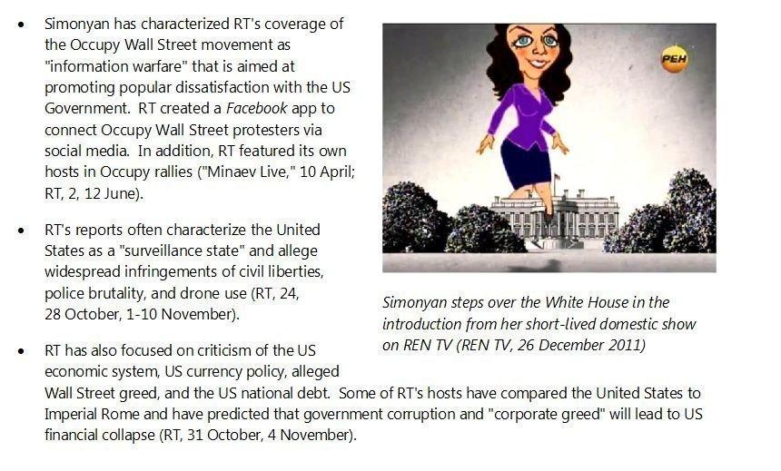 La vignetta sul capo redattore dell'agenzia di Sputnik e del canale televisivo RT, Margherita Simonian, nel rapporto della National Intelligence.