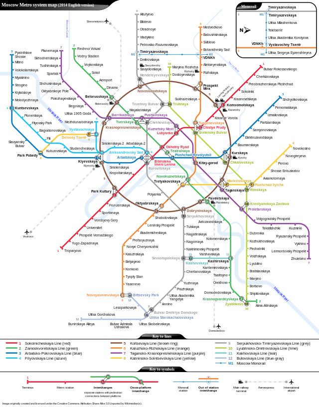 Lo schema della metropolitana di Mosca.
