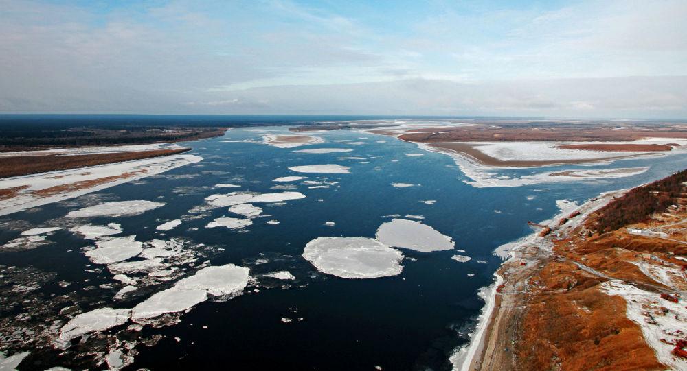 La confluenza dei fiumi Pechora e Usa nella repubblica di Komi, Russia.