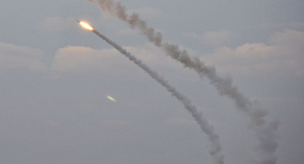 Ukrainian missile complexes launch medium range guided missiles during military drills in southern Kherson region bordering Crimea, Ukraine, December 1, 2016