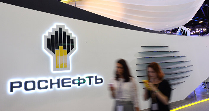 Rosneft stand in the Expoforum exhibition center before the opening of the 20th St. Petersburg International Economic Forum