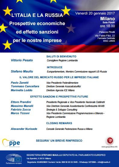 La locandina del convegno Italia - Russia prospettive economiche ed effetto sanzioni per le nostre imprese