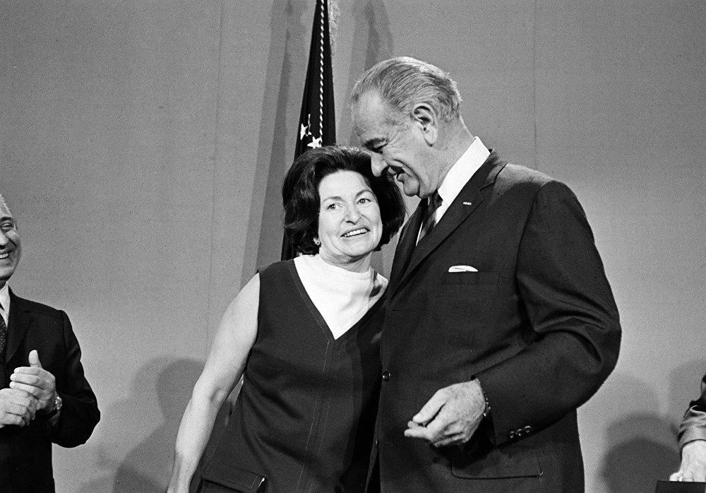 Il presidente Lyndon B. Johnson e sua moglie Lady Bird Johnson, il 16 ottobre, 1968.