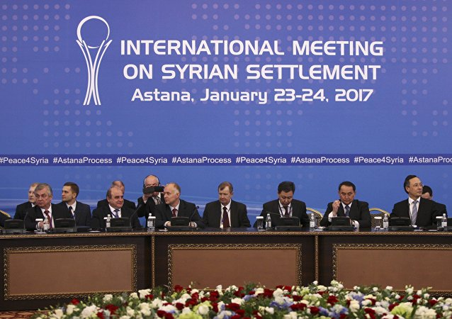 Participants of Syria peace talks attend a meeting in Astana, Kazakhstan January 23, 2017.