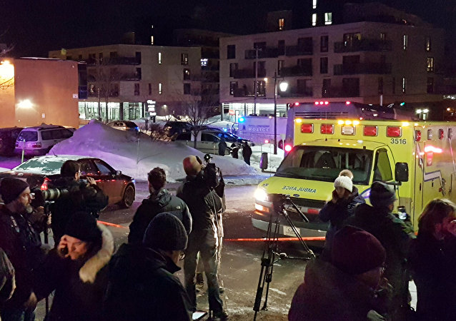 Il luogo della sparatoia nel Centro culturale islamico a Quebec City, Canada, il 29 Gennaio 2017