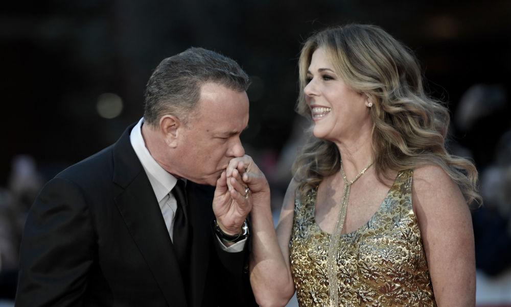 L'attore americano Tom Hanks e sua moglie Rita Wilson.