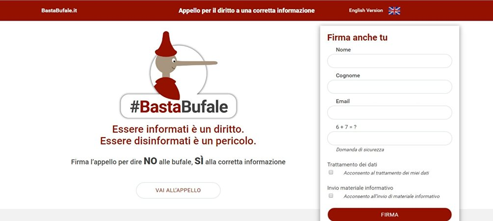 L'homepage del sito bastabufale.it