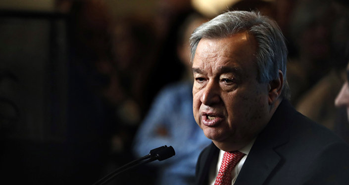 UN Secretary-General-designate Mr. Antonio Guterres of Portugal speaks to members of the media after being sworn in at UN headquarters in New York