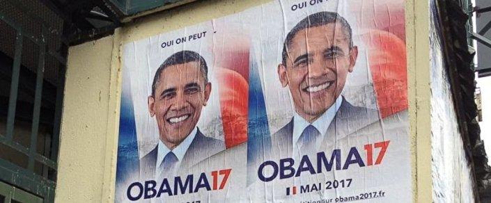 Parigi, manifesti per promuovere la candidatura di Obama all'Eliseo
