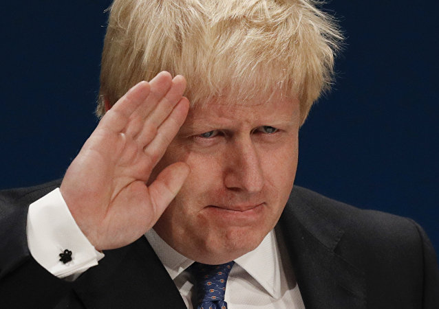 British Foreign Secretary Boris Johnson delivers a speech on the first day of the Conservative party annual conference at the International Convention Centre in Birmingham, central England, on October 2, 2016.