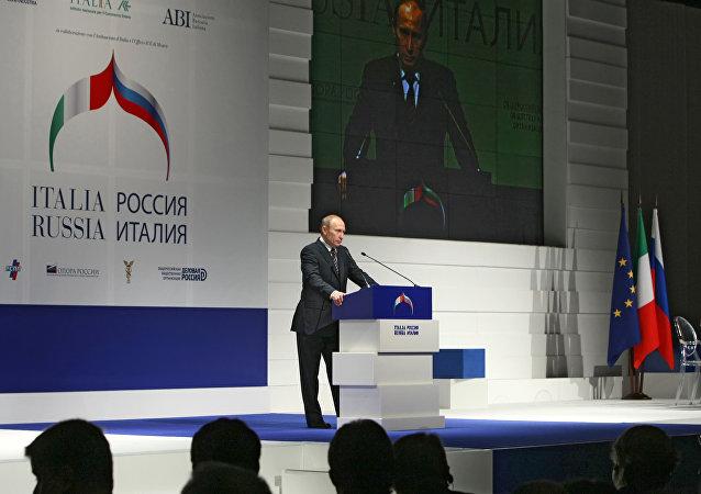 Vladimir Putin interviene al Forum Economico Russia-Italia (foto di repertorio)
