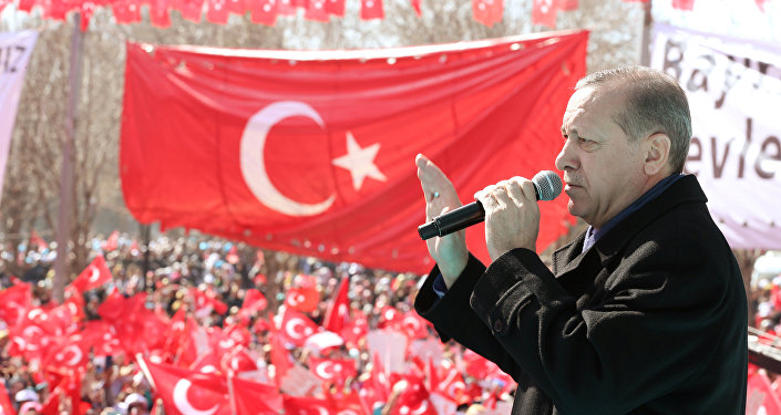 Turkish President Tayyip Erdogan makes a speech during an opening ceremony in the southeastern city of Gaziantep, Turkey, February 19, 2017.