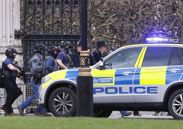 Una vettura della polizia vicino alla Camera dei Comuni di Londra