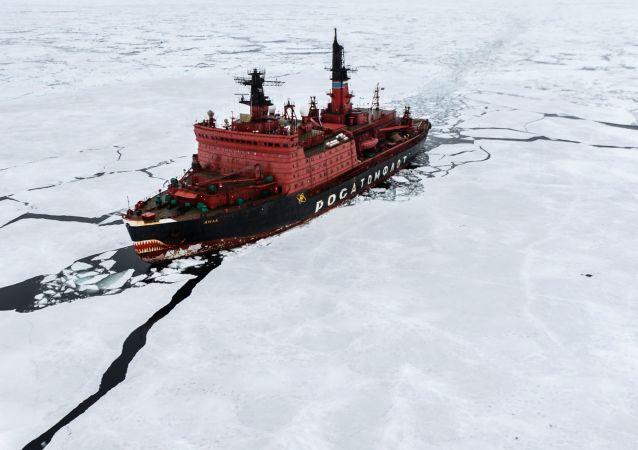 Nave rompighiaccio nell'Artico (foto d'archivio)