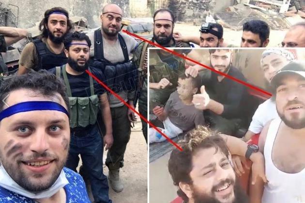 Selfie con combattenti jihadisti del fotografo Mahmoud Raslan dell'Aleppo Media Center finanziato da UE e Francia