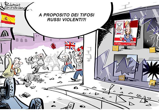 Gli scontri tra polizia e tifosi inglesi nel centro di Madrid