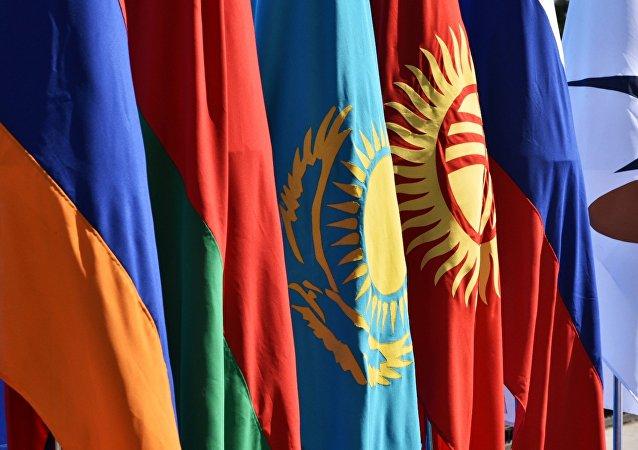 Le bandiere dei paesi appartenenti all'UEE