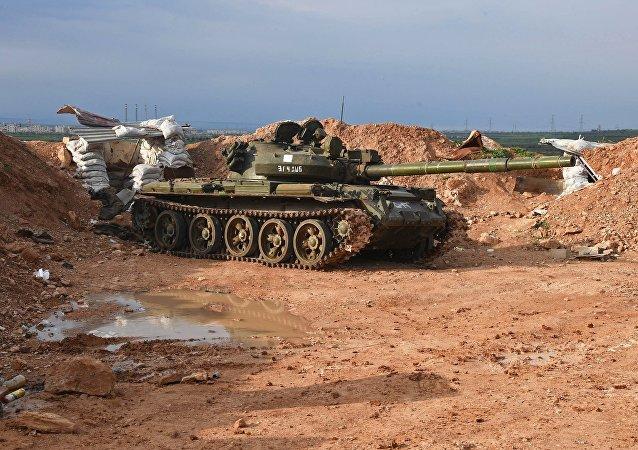 Tank dell'esercito siriano ad Hama