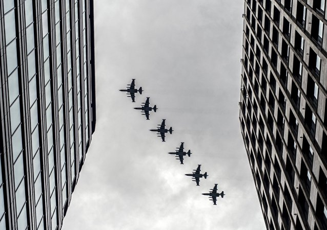 Russian military aircraft during Victory Day parade rehearsal