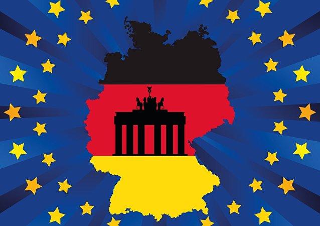 Collage tra bandiera di Germania e UE