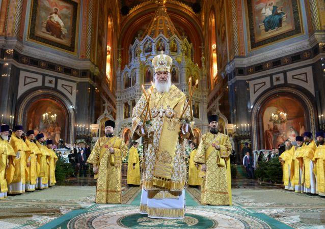 Patriarca di Mosca e di tutte le Russie Kirill alla cattedrale di Cristo Salvatore
