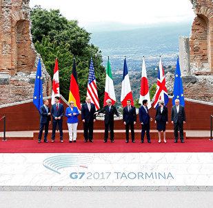 I leader dei Gruppo dei Sette (G7) a Taormina, Italia