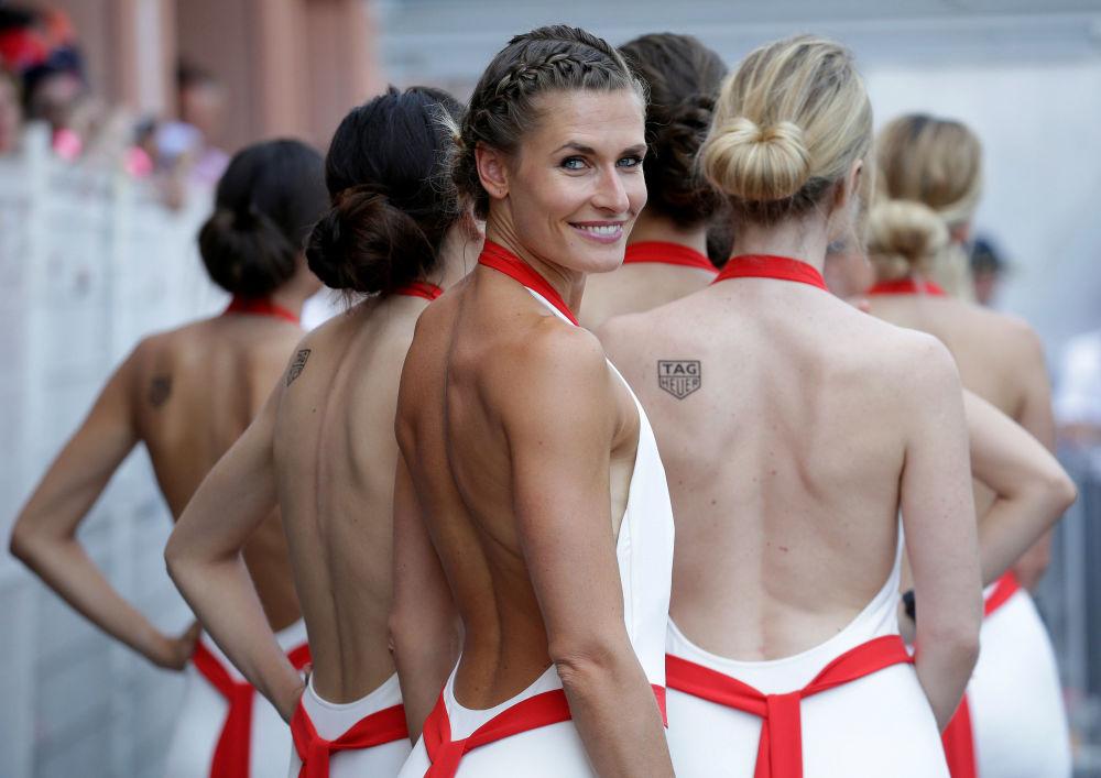 Grid girls al Gran Premio di Formula Uno a Monaco.