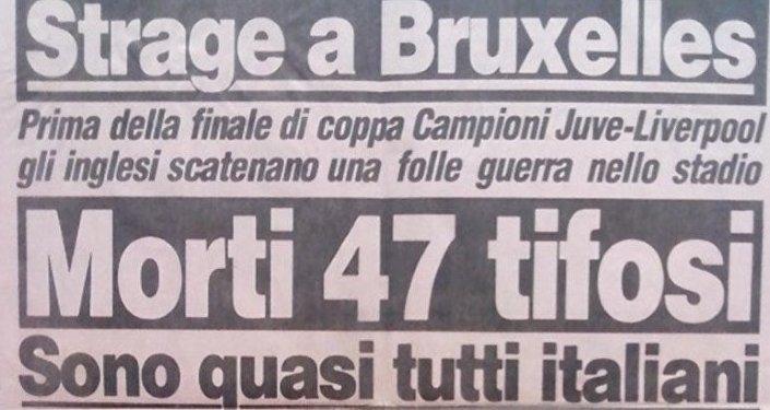 La prima pagina della Gazzetta dello Sport il giorno dopo la tragedia dell'Heysel