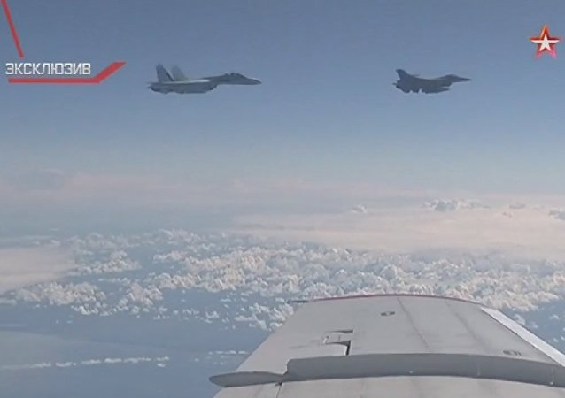 Caccia russo Su-27 interrompe manovra di avvicinamento dei un F-16 NATO dall'aereo del ministro Shoigu