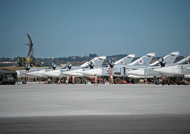 Su-24 bombers of the Russian Aerospace Forces at the Khmeimim airbase in Syria.