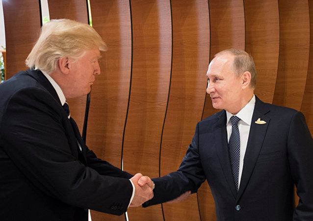 U.S. President Donald Trump and Russia's President Vladimir Putin shake hands during the G20 Summit in Hamburg, Germany in this still image taken from video, July 7, 2017