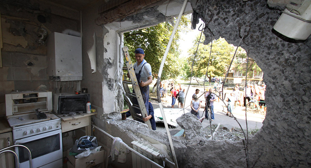 Palazzo residenziale danneggiato da un missile, Donbass