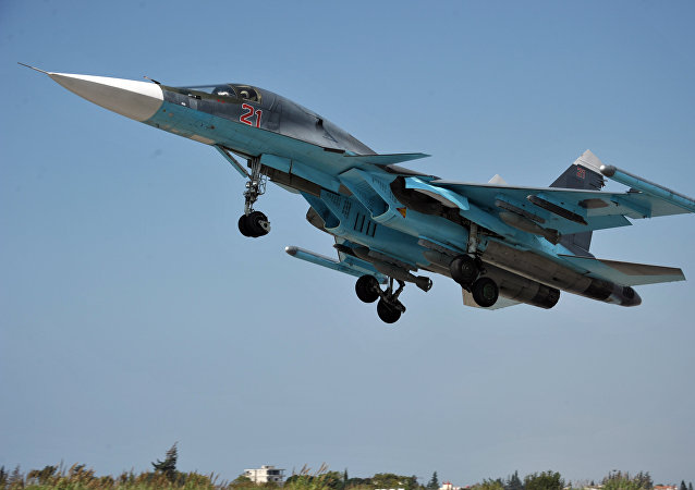 A Su-34 multifunctional strike bomber of the Russian Aerospace Force takes off from the Hemeimeem Air Base in the Syrian province of Latakia.